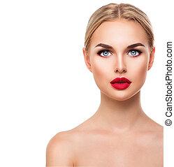 bello, biondo, modello, faccia donna, con, occhi blu, e, perfetto, trucco