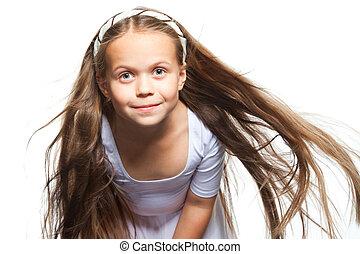 bello, biondo, sopra, isolato, capelli lunghi, bianco, ragazza