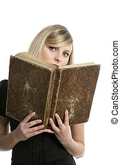 bello, biondo, studente, ragazza, con, vecchio, libro