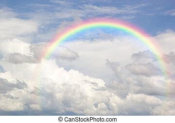 bello, blu, arcobaleno, indaco, fenomeno, classico, attraverso, pioggia, secondo, cielo, naturale, red., arancia, giallo, viola, consiste, verde, accade, blu
