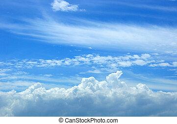 bello, blu, bianco, nubi, cielo