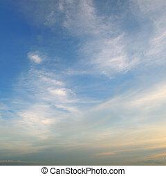 bello, blu, cielo, nubi, luce