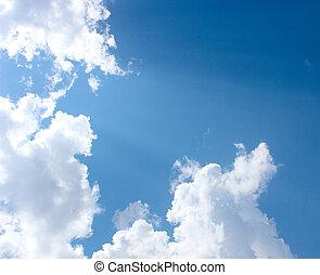 bello, blu, nubi, cielo, fondo, bianco