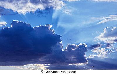 bello, blu, nubi, cielo, luce sole, fondo.