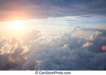 bello, blu, nubi, fondo, cielo