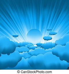 bello, blu, sole, cielo, eps, clouds., 8