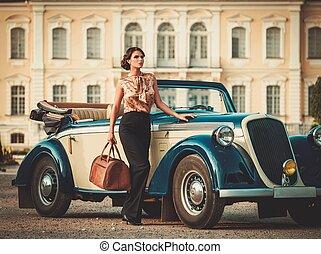 bello, borsa, convertibile, signora, classico