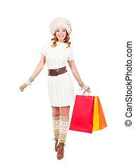 bello, borse, inverno, acquirente, isolato, giovane, vestito bianco
