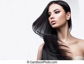 bello, brunetta, bellezza, classico, face., spostare, liscio, capelli, make-up., ragazza, perfectly