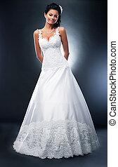 bello, brunetta, bianco, sposa, moda, vestito nozze, modello