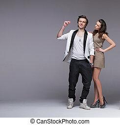 bello, brunetta, coppia, elegante, colpo