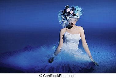 bello, brunetta, fiori indossare, cappello