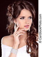 bello, brunetta, hairstyle., bellezza, isolato, makeup., moda, bride., fondo, manicured, nero, woman., ragazza, nails.