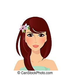 bello, brunetta, occhi, capelli, ragazza, marrone, nocciola