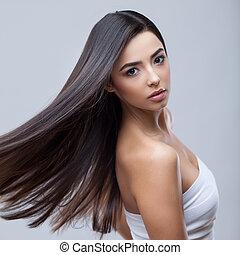 bello, brunetta, sano, capelli lunghi, ragazza