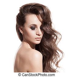 bello, brunetta, sano, lungo, girl., fondo, hair., bianco