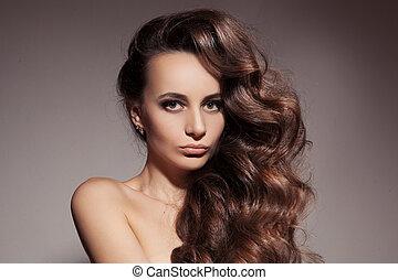bello, brunetta, woman., riccio, lungo, hair.