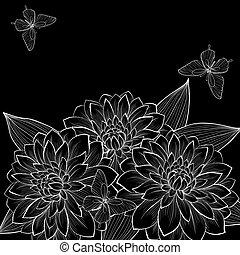 bello, butterflies., cornice, sfondo nero, monocromatico,...