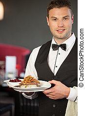 bello, cameriere, servire, appetitoso, anatra, piatto,...