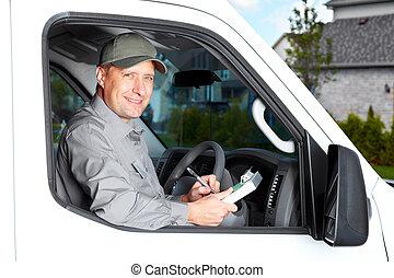 bello, camion, driver.