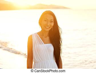 bello, camminare, concetto, libertà, ragazza, spiaggia, tramonto