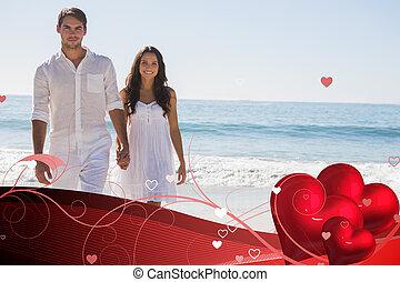 bello, camminare, immagine composita, tenere mani, coppia