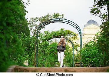 bello, camminare, parco, ragazza, felice