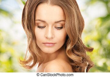 bello, capelli, donna, lungo
