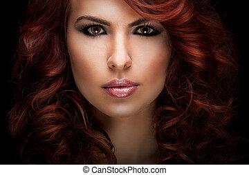 bello, capelli, donna, rosso