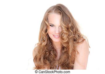 bello, capelli, donna sorridente