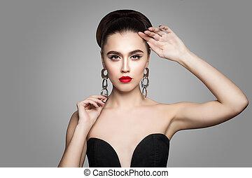 bello, capelli, donna, su., fare, updo, elegante, carino, femmina, perfetto, orecchini, modello, argento