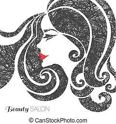 bello, capelli, donna