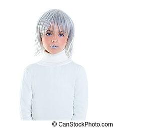 bello, capelli grigi, bambino, ragazza, futuristico, capretto