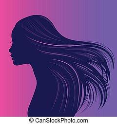 bello, capelli lunghi, ondulato, ragazza, spesso