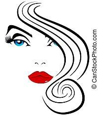 bello, capelli, modello, donna, moda