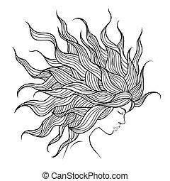 bello, capelli, testa, flyin, ragazza