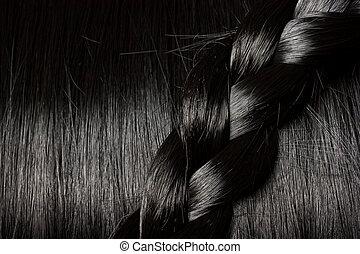 bello, capelli, treccia, nero
