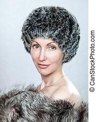 bello, cappello, donna, pelliccia, giovane