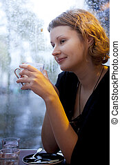 bello, cappuccino, parigino, pioggia, ragazza, caffè, bere