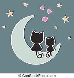 bello, carino, amore, seduta, due, luna, gatti, night.