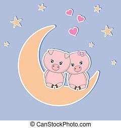 bello, carino, amore, sguardo, seduta, due, luna, stars., maiali, cuori, notte