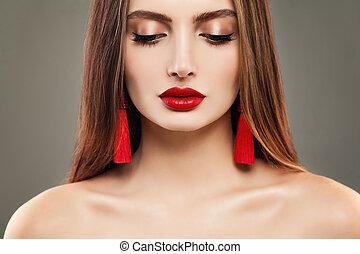 bello, carino, donna, gioielleria, trucco, giovane, faccia, labbra, earrings., modello, rosso