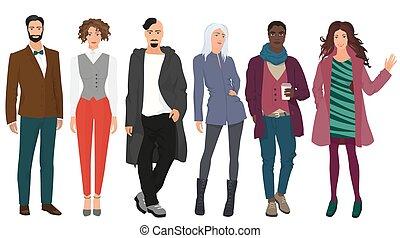 bello, carino, moda, moda, modelli, set., moderno, ragazze, giovani coppie, isolated., strada, uomini, bello, tipi, casuale, persone, vestiti