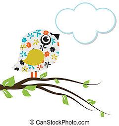 bello, carino, uccello, acquarello, tuo, design.