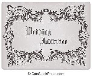 bello, cartolina, cornice, invito, -, disegno, retro, matrimonio, album