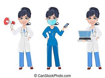 bello, cartone animato, carattere, medic., set