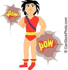 bello, cartone animato, superhero