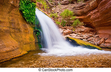 bello, cascata, deserto