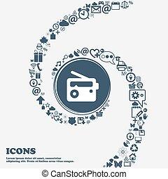 bello, center., uso, intorno, lattina, spiral., molti, torto, segno, simboli, vettore, radio, retro, ciascuno, separately, lei, icona, tuo, design.