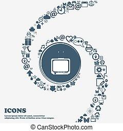 bello, center., uso, intorno, tv, molti, torto, segno, simboli, spiral., vettore, lattina, ciascuno, separately, lei, icona, tuo, design.